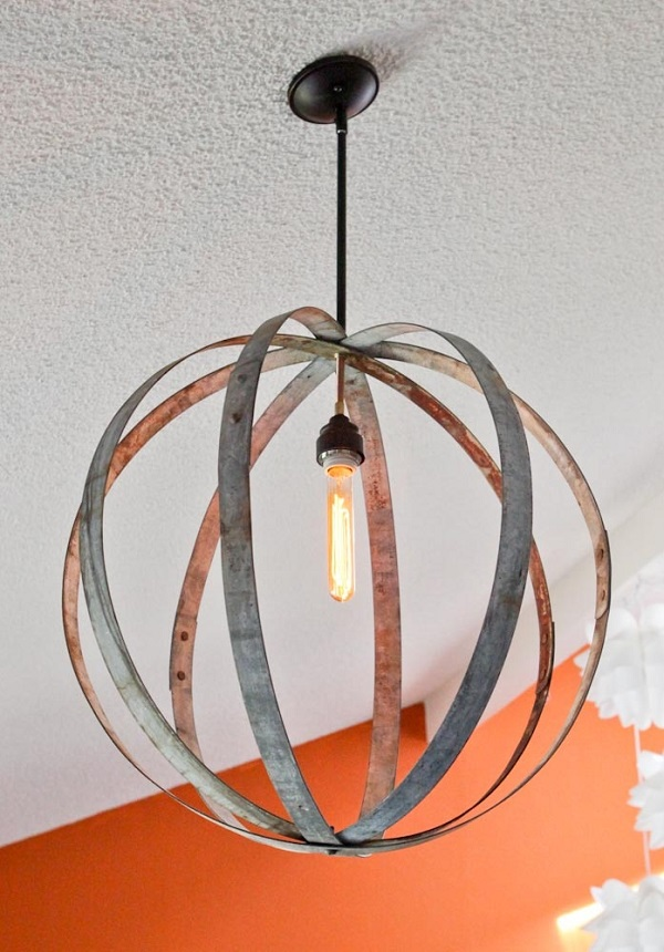 DIY wine barrel ring chandelier