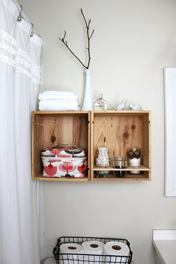 DIY wine crate holders in the bathroom