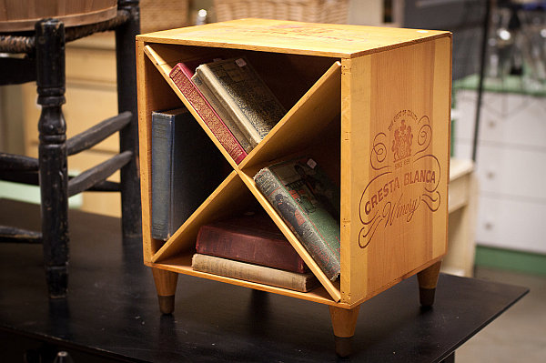 DIY wine crate turned nightstand