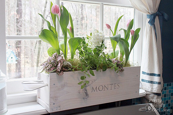DIY wood crate flower holder