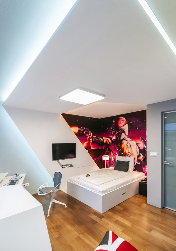 Daft lighting that gives a futuristic look to the bedroom