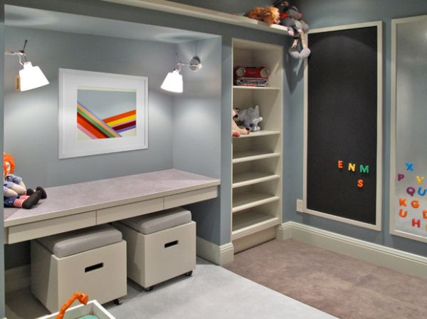 Desk space in the playroom with interesting seating options