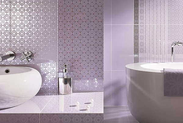 Detailed wall coverings in a lavender bathroom