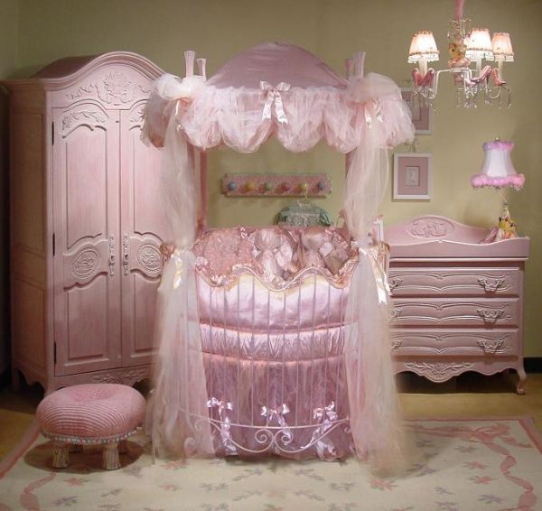 Disney Princess theme for your little girl works well with a round crib
