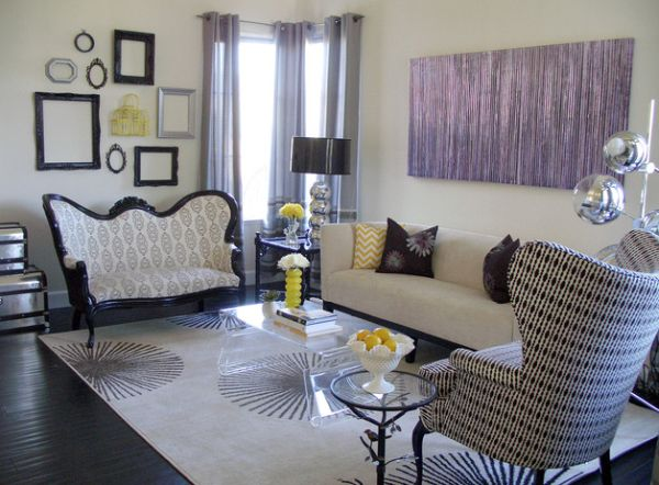 View In Gallery Eclectic Living Room In Beautiful Purple Inspired By Regency  Style