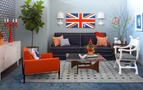 Eclectic living room sports a retro style with strong British flavor