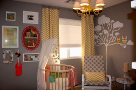 Eclectic nursery with a round bed ideal for both boys and girls