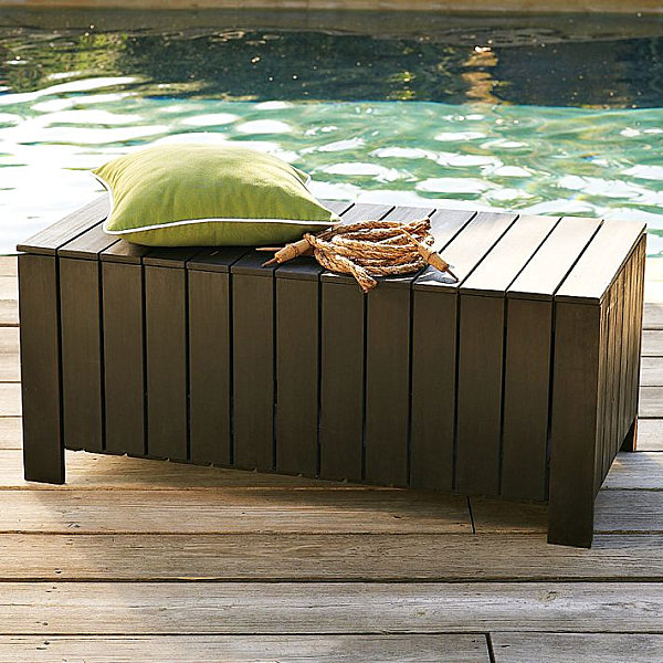 Eco-friendly slatted storage bench
