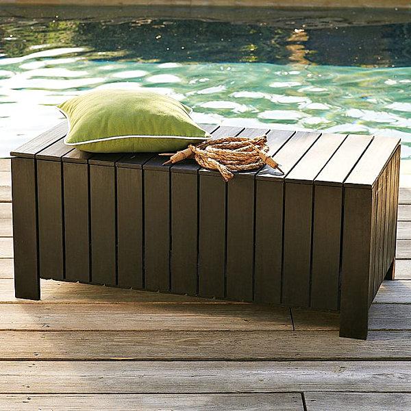 Eco-friendly slatted storage bench