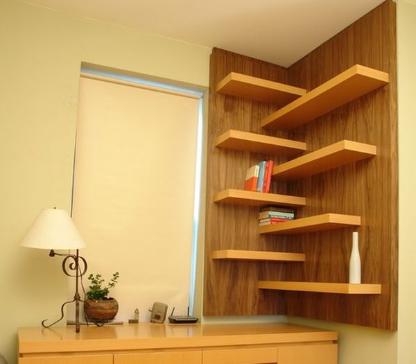 View in gallery Elegant floating walnut shelves perfect for every room 15 Corner Wall Shelf Ideas To Maximize Your Interiors