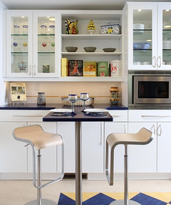 superior What To Put In Kitchen Cabinets #1: View in gallery Elegant glass cabinets for a cool contemporary kitchen