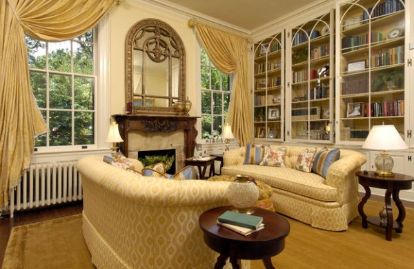 Elegant living room with elaborate bookshelves that blend in beautifully