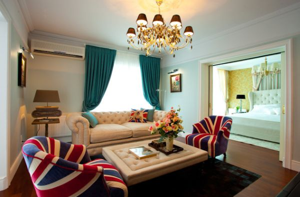 Elegant traditional living room with a couple of Union Jack sporting chairs