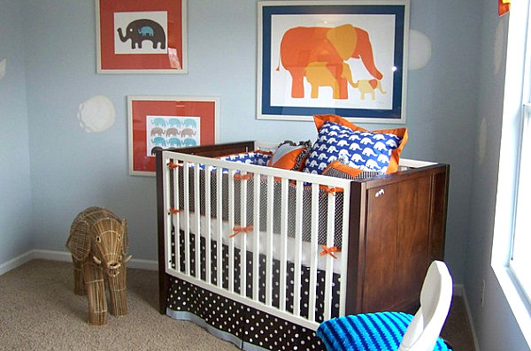 Elephant-themed modern nursery