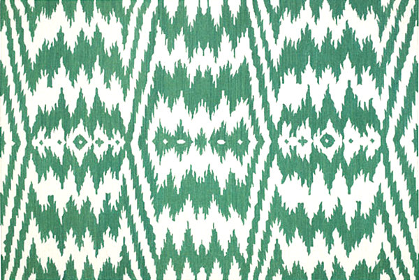 Emerald and white rug