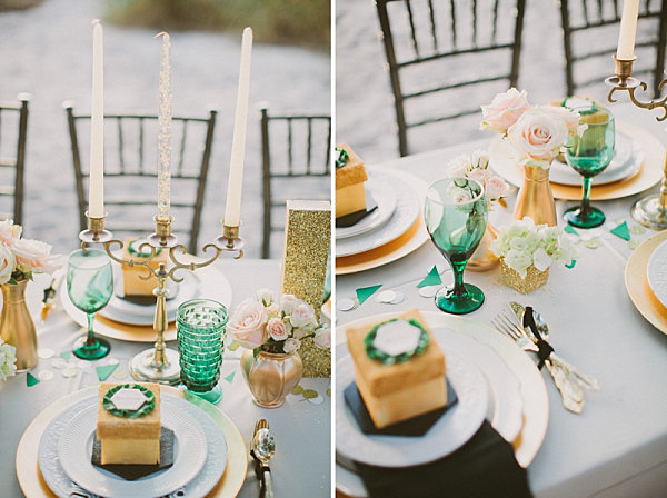 Emerald green and gold accents at an engagement party