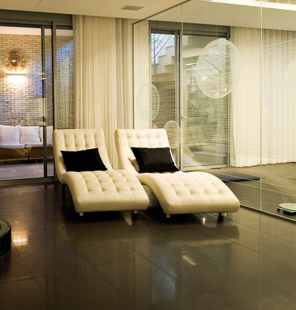 View In Gallery Exquisite Modern Chaise Lounges In Cream For The  Semi Minimalist Home