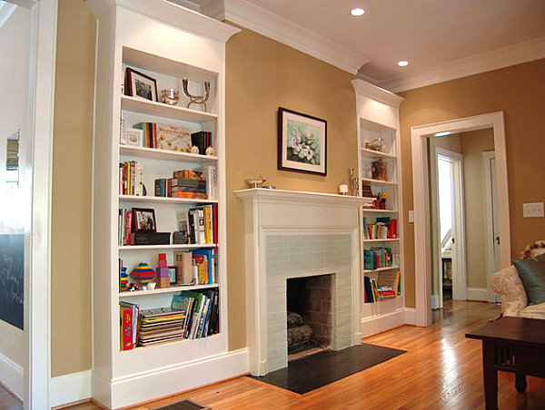 How to decorate a bookshelf Built in shelves living room