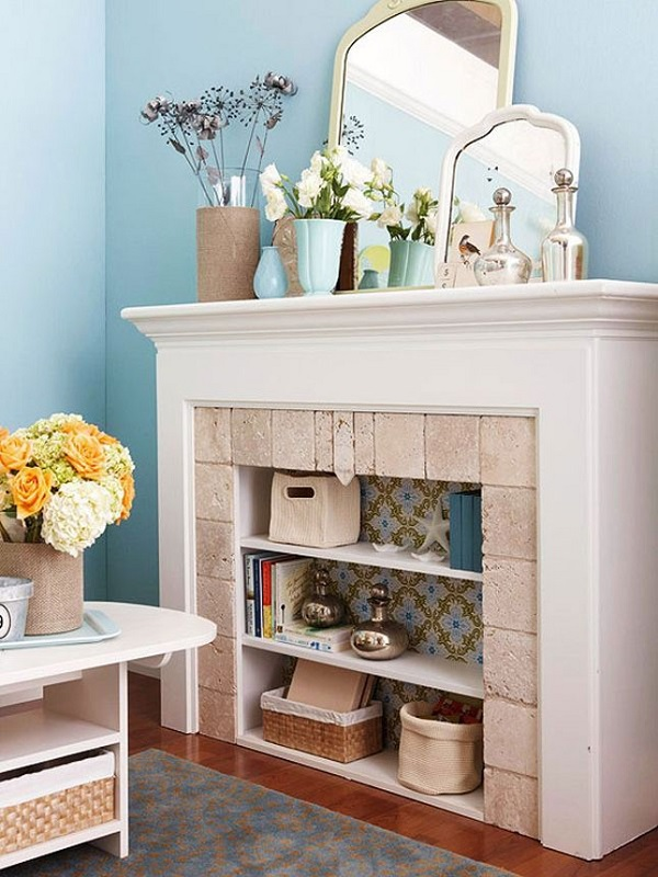 Fireplace converted into bookshelf DIY