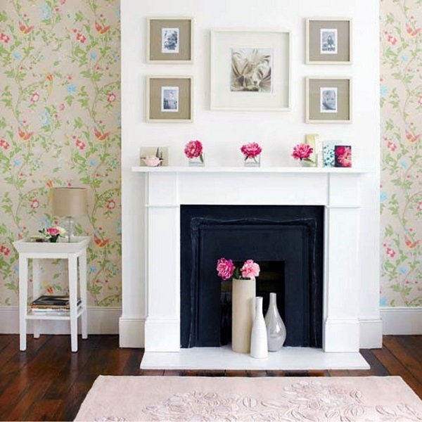 Fireplace flower display DIY