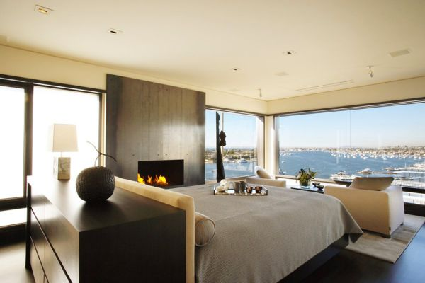 Fireplace in the bedroom Contemporary Californian Apartment Promises Gorgeous Harbor Views And Refined Interiors