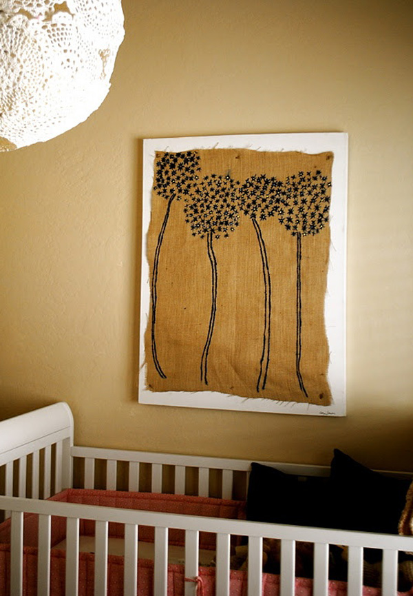 Framed burlap diy wall art