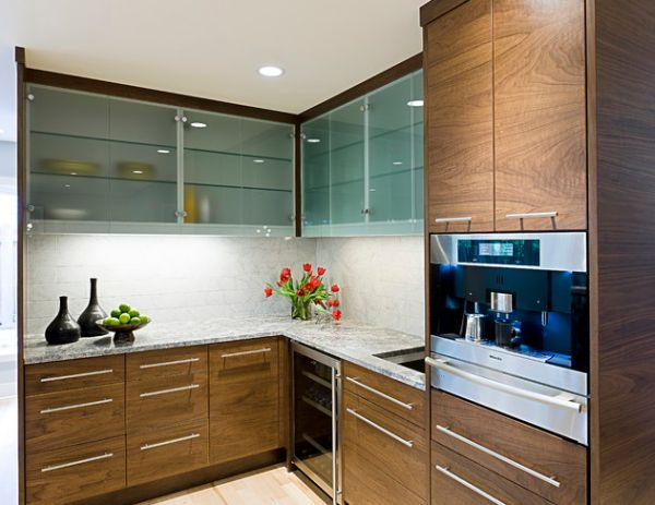 Frosted glass cabinets leave a bit mystery thanks to the translucent look