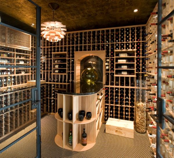 view in gallery glass vases and a chandelier make lovely additions to the wine cellar