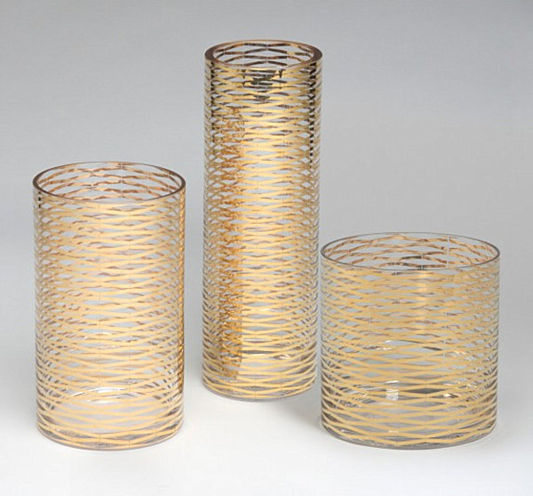 Gold glass vases