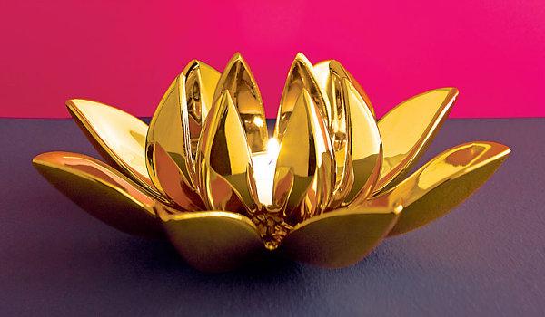 Golden dahlia candleholder
