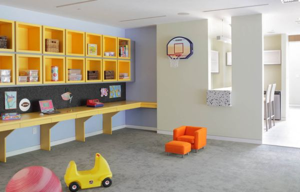 Gorgeous kids' room with built-in desk providing plenty of space