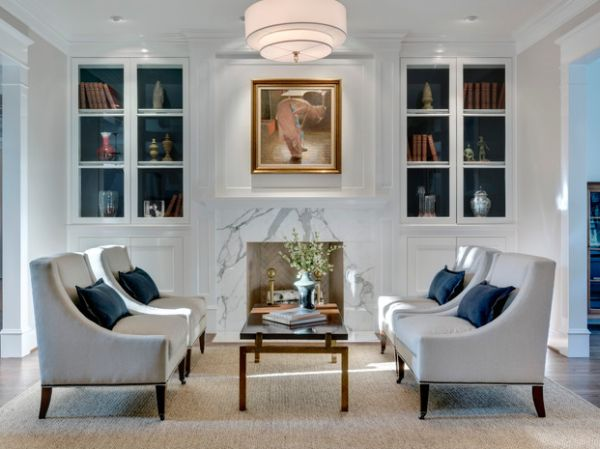 Gorgeous living space sports stylish bookcases with glass doors