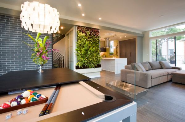 Gorgeous modern living room sports an equally appealing living wall