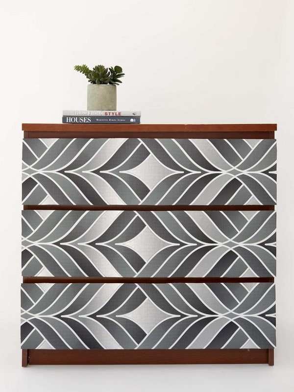 Gray gradient wallpaper dresser DIY