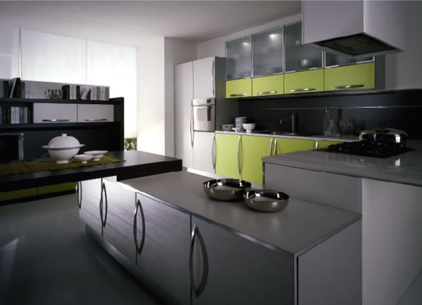 Grey and olive green kitchen for the contemporary home for Modern green kitchen designs