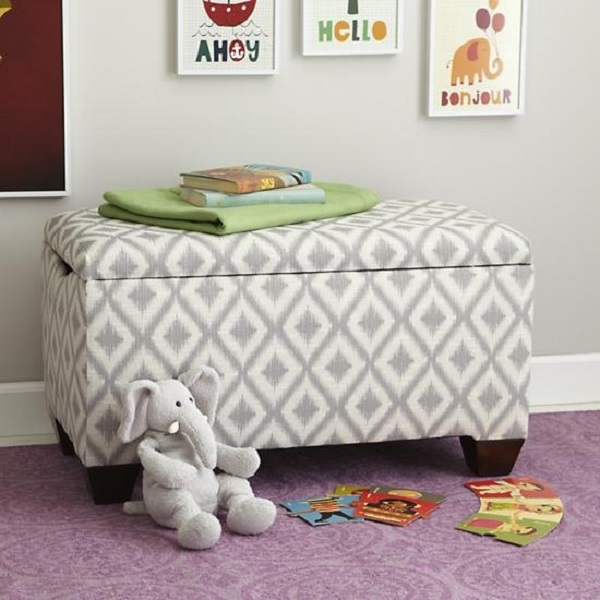 Grey And White Upholstered Storage Bench Decoist