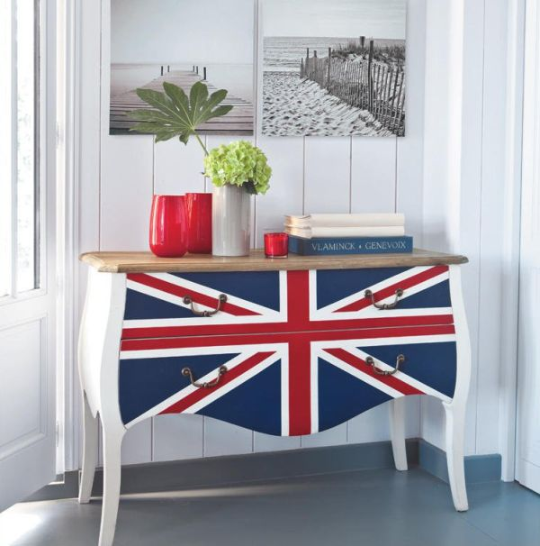 Hide away the mess with a Union Jack themed dresser