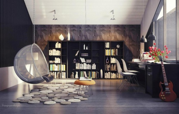 Home office space and reading area with interesting seating options