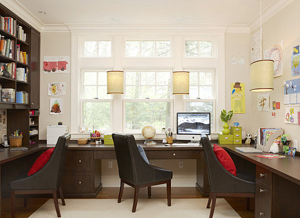 Home office with abundant desk space