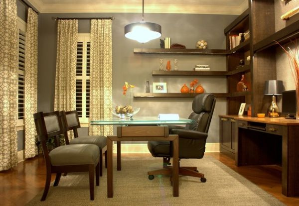 View In Gallery Home Work Space With Lighted Floating Shelves In The Corner