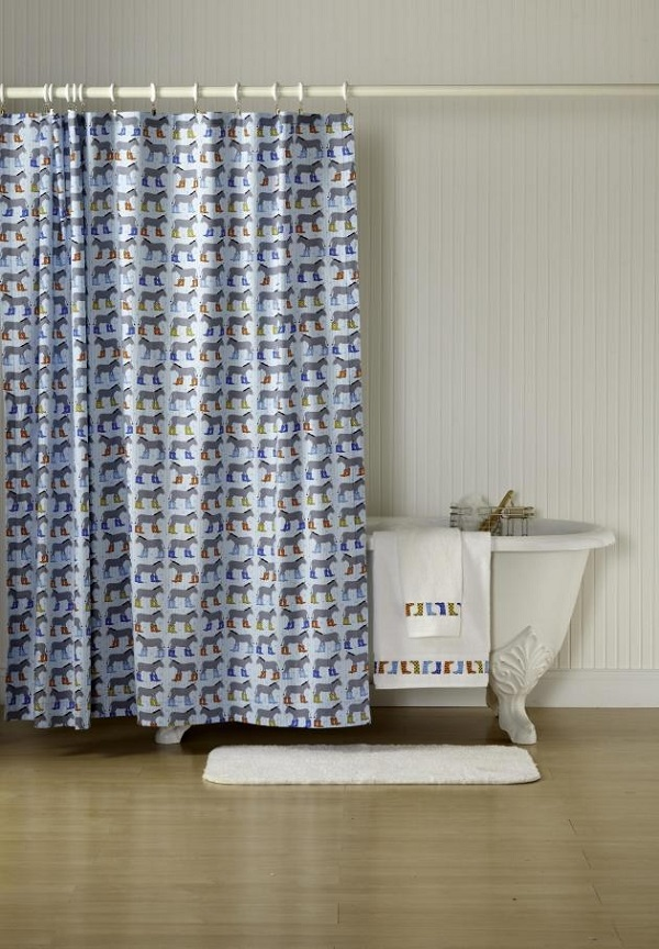 Horse print fabric shower curtain DIY
