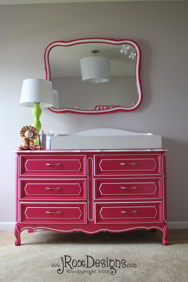 Hot pink changing table with white trim