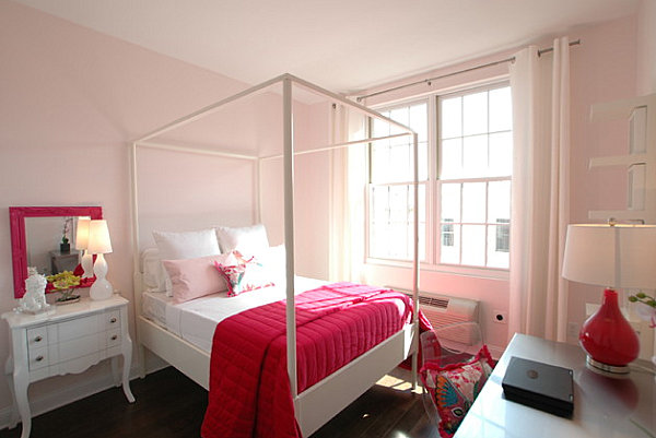 Hot pink pops in a pastel pink bedroom