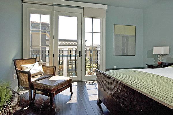 Ice blue modern bedroom