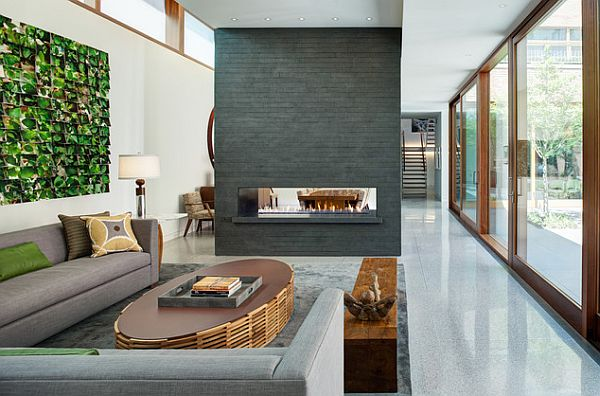 In-wall fireplace set in a contemporary setting