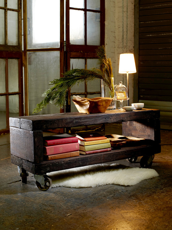 View In Gallery Industrial Reclaimed Wood Coffee Table
