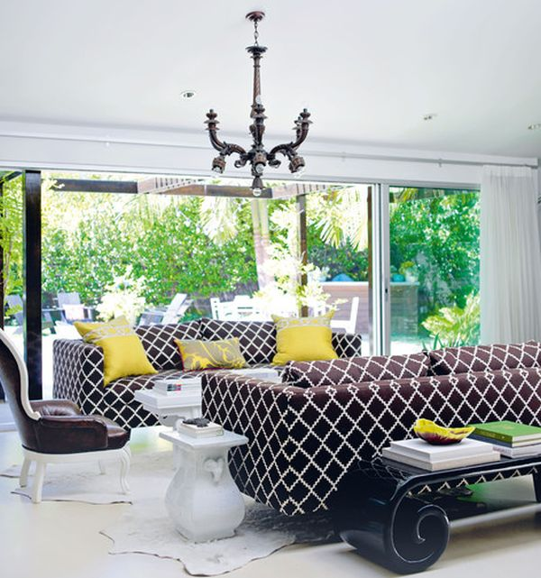 Interesting colors and decor give this space a glamourous look