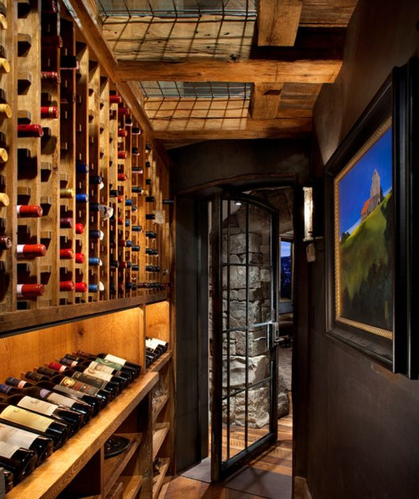 View In Gallery Interesting Wine Cellar With Skylights And Wall Art