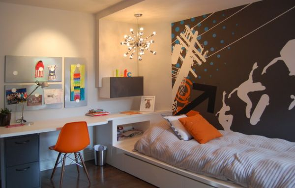 Kids' bedroom with a sleek desk and lovely wall decal