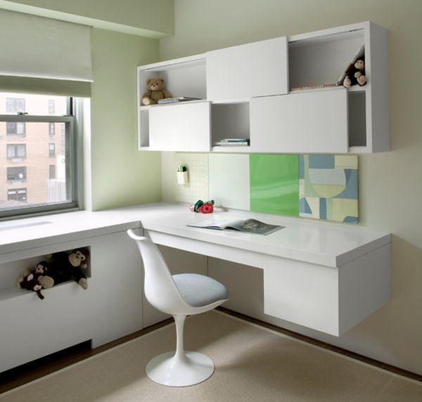 29 kids desk design ideas for a contemporary and colorful for Built in study table
